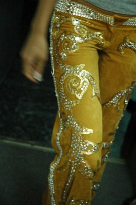 кожаные брюки Swarovski